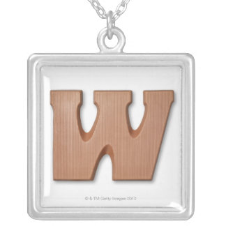 Chocolate letter w square pendant necklace