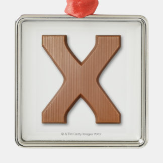 Chocolate letter x christmas ornament