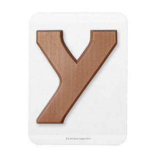 Chocolate letter y rectangular photo magnet