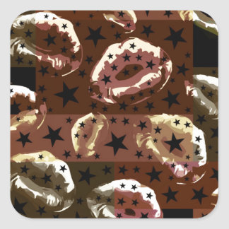 Chocolate Lips Stars Square Sticker