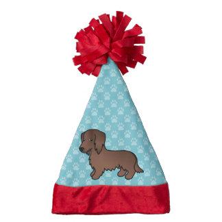 Chocolate Long Coat Dachshund Santa Hat