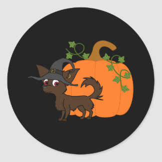 Chocolate Long Haired Chihuahua with Pumpkin Round Sticker