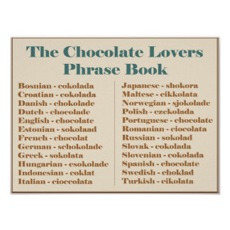 Chocolate Lovers Phrase Book Poster