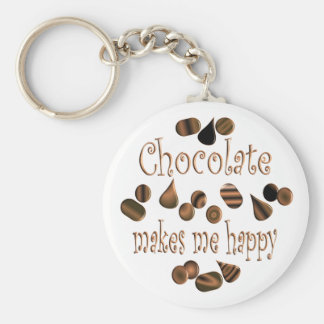 Chocolate Makes Me Happy Basic Round Button Key Ring