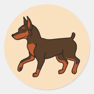 Chocolate Miniature Pinscher Round Sticker