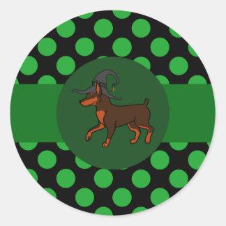 Chocolate Miniature Pinscher Witch with Green Dots Round Sticker