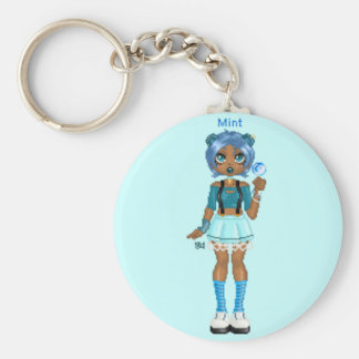 Chocolate Mint Basic Round Button Key Ring