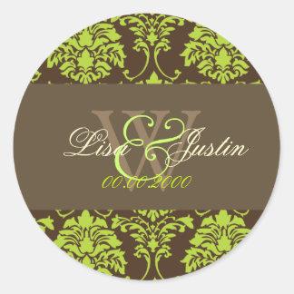 Chocolate Mint Damask monogram wedding stickers