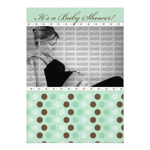 Chocolate Mint Dots Baby Shower Invitation