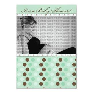 Chocolate Mint Dots Baby Shower Invitation
