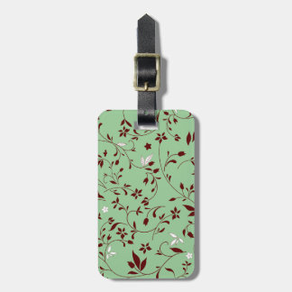 Chocolate Mint Floral Luggage Tag