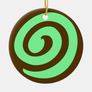 Chocolate Mint Pinwheel Cookie Round Ceramic Decoration