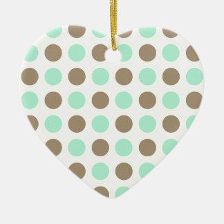 Chocolate & Mint Polka Dots Ceramic Heart Decoration