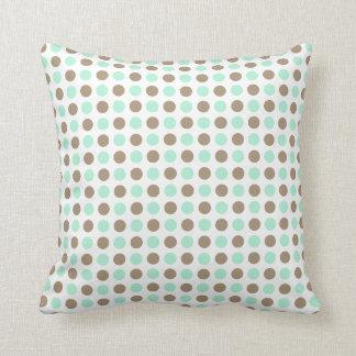 Chocolate & Mint Polka Dots Throw Cushions