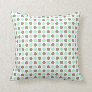 Chocolate & Mint Polka Dots Throw Pillow