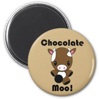Chocolate Moo Kawaii Cow 6 Cm Round Magnet