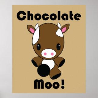 Chocolate Moo Kawaii Cow poster