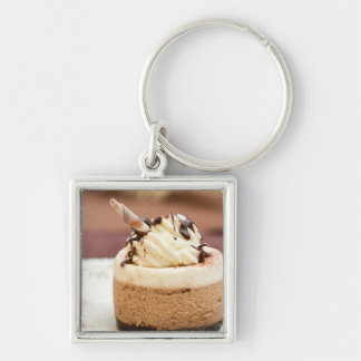 Chocolate Mousse Cake Silver-Colored Square Key Ring
