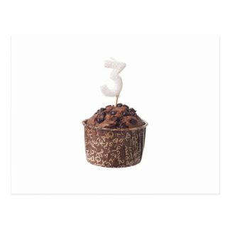 Chocolate muffin with birthday candle for three post cards