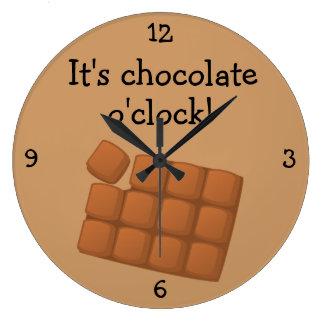Chocolate O'Clock fun food graphic Large Clock