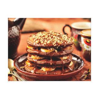 Chocolate Pancakes with Bananas and Caramel Canvas Print