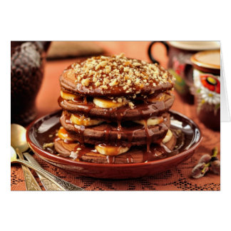 Chocolate Pancakes with Bananas and Caramel Greeting Cards