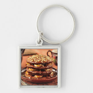 Chocolate Pancakes with Bananas and Caramel Silver-Colored Square Key Ring