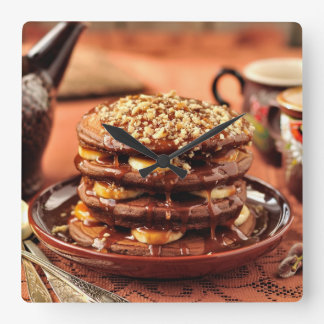 Chocolate Pancakes with Bananas and Caramel Square Wall Clock