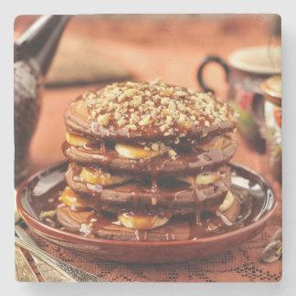 Chocolate Pancakes with Bananas and Caramel Stone Coaster