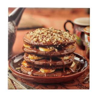 Chocolate Pancakes with Bananas and Caramel Tile