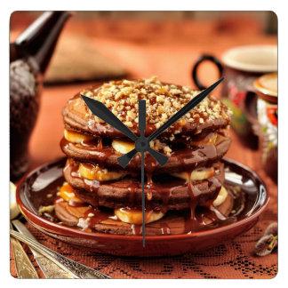 Chocolate Pancakes with Bananas and Caramel Wall Clock