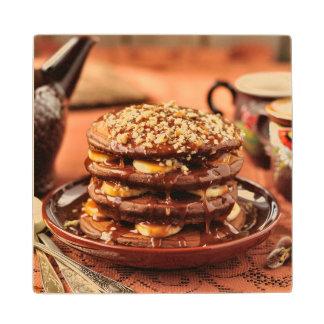 Chocolate Pancakes with Bananas and Caramel Wood Coaster