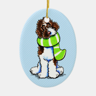 Chocolate Parti Labradoodle Winter Scarf Christmas Ornament