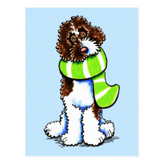 Chocolate Parti Labradoodle Winter Scarf Postcards