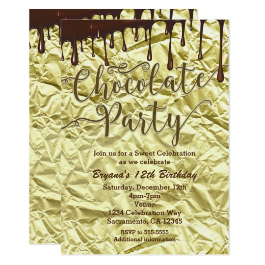 Chocolate Party Gold Faux Foil Wrapper Invitations