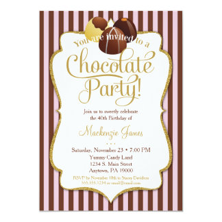 Chocolate Party Invitation Birthday Dessert