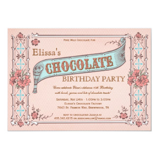 "Chocolate Party Invitation Vintage Chocolate Box 5"" X 7"" Invitation Card"