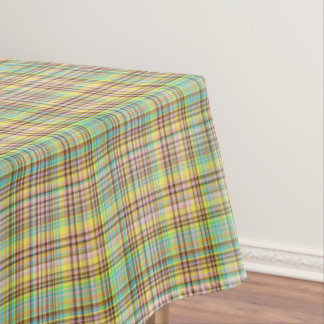 Chocolate Pastels Plaid 2-60x84 COTTON TABLE CLOTH Tablecloth