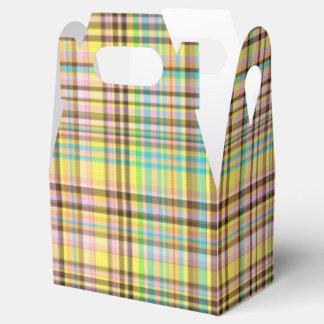 Chocolate Pastels Plaid 2-PARTY FAVOR BOX, gable Wedding Favour Box