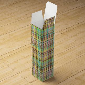 Chocolate Pastels Plaid 2-WINE BOTTLE GIFT BOX Wine Gift Box