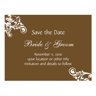 Chocolate Personalized Flourish Save the Date Postcard
