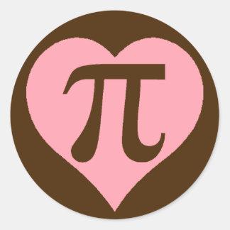 Chocolate Pi Heart Classic Round Sticker