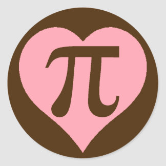 Chocolate Pi Heart Round Sticker
