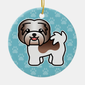 Chocolate Piebald Cartoon Havanese Dog Christmas Ornament