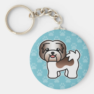 Chocolate Piebald Cartoon Havanese Dog Key Ring