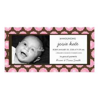 Chocolate & Pink Blooms Birth Announcement Photo Greeting Card