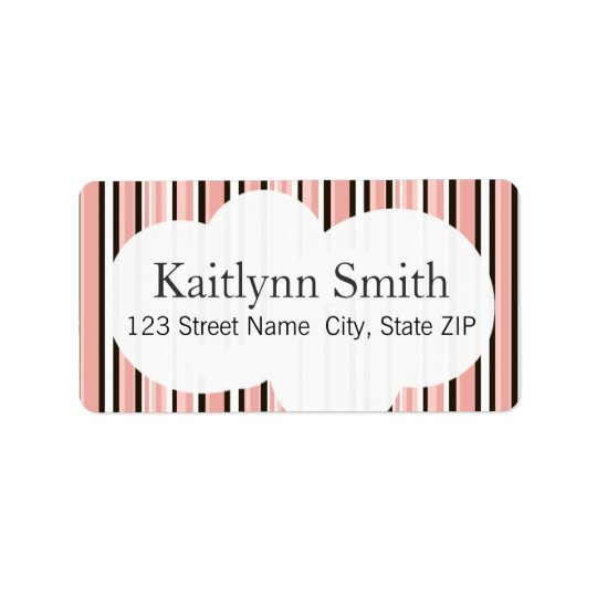 Chocolate & Pink Cupcake Stripes Label