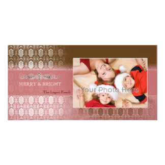Chocolate pink vintage christmas photocard personalized photo card