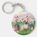 Chocolate Point Himalayan -  Blossoms Basic Round Button Key Ring