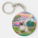 Chocolate Point Himalayan Cat -  Cloud Angel Basic Round Button Key Ring